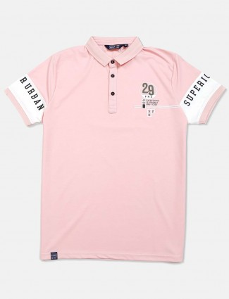 Freeze solid polo neck powder pink t-shirt
