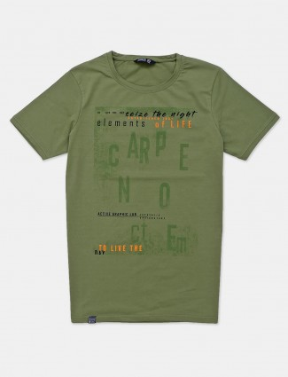 Freeze trendy green printed mens t-shirt