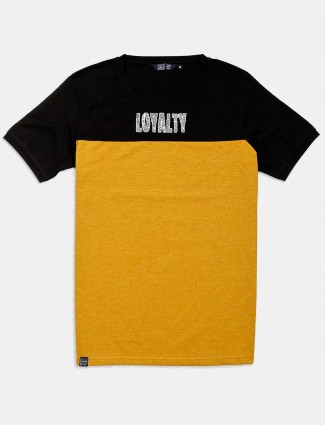 Freeze yellow printed slim fit t-shirt