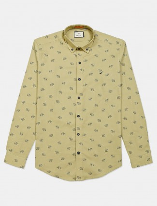 Frio full sleeve khakhi printed shirt