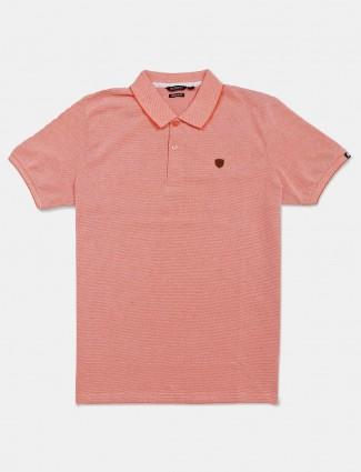 Fritzberg orange solid cotton polo t-shirt