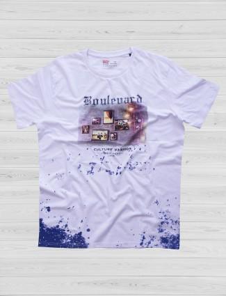 Fritzberg white color mid tone t-shirt