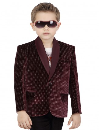 G3 Exclusive velvet maroon printed boys blazer