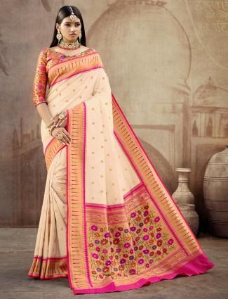 Gallant cream banarasi paithani silk wedding wear saree