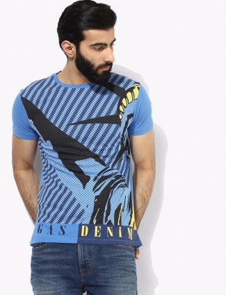 Gas printed cotton blue t-shirt