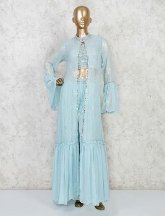 Georgette aqua jacket style palazzo suit