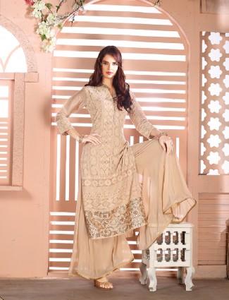 Georgette beige color palazzo suit