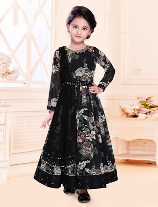 Georgette black festive wear anarkali suit