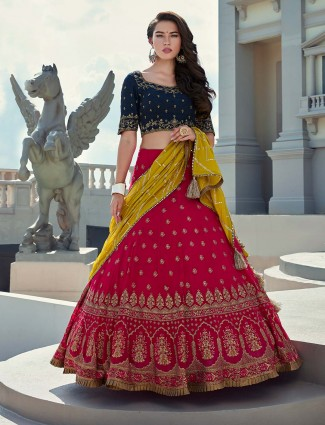 Georgette navy and magenta contrast combination lehenga choli
