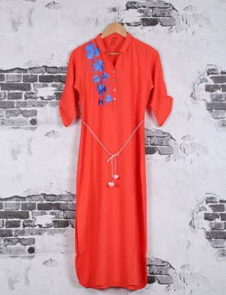 Georgette orange plain kurti