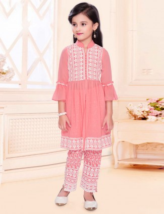 Georgette pink party punjabi pant suit