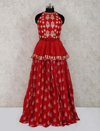 Georgette red wedding peplum style lehenga choli
