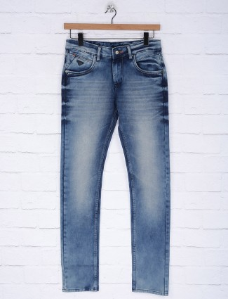 Gesture blue hue solid mens jeans