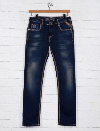 Gesture navy washed denim jeans for mens