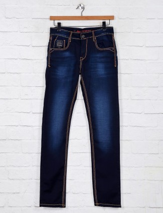 Gesture washed dark blue denim slim fit jeans