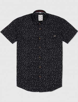Gianti black printed slim fit shirt