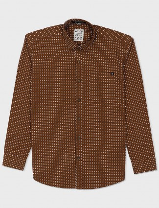 Gianti brown polka dot printed shirt