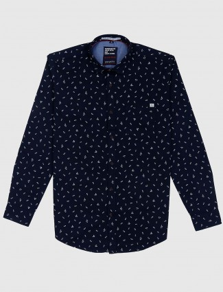Gianti navy hue printed shirt