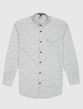 Gianti presenred cream printed mens shirt