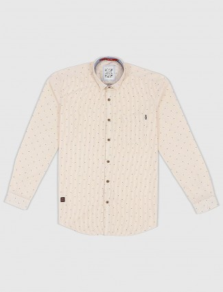 Gianti printed cream hued shirt