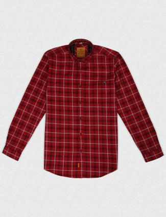 Gianti red colored checks shirt