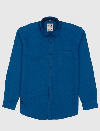 Gianti royal blue printed pattern shirt