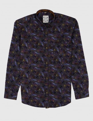 Gianti slim fit grey hue printed shirt