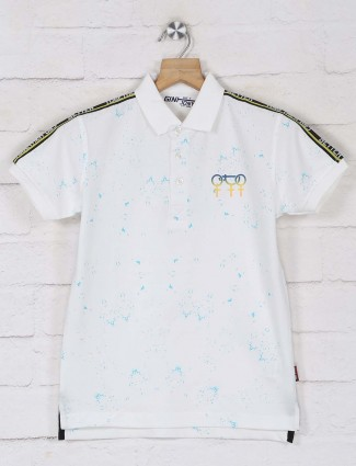 Gini & jony white printed polo boys t-shirt