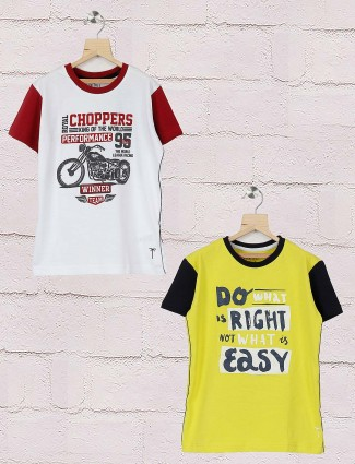 Gini and Jony bright yellow and white hued pack of 2 t-shirt