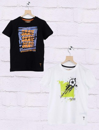 Gini and Jony cotton black and white printed pack of 2 t-shirt