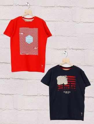 Gini and Jony cotton red and navy color pack of 2 t-shirt