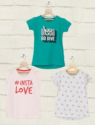 Gini and Jony grey cream and green printed cotton pack of 3 top