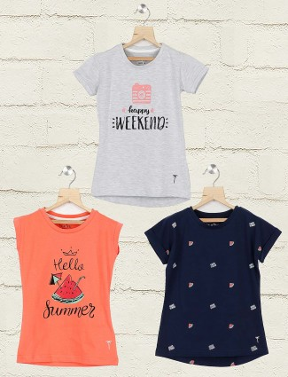 Gini and Jony grey navy and peach color round neck pack of 3 top