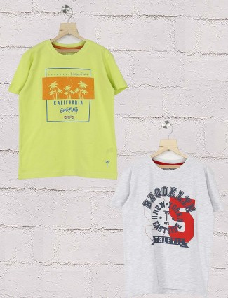 Gini and Jony light green and grey hue pack of 2 t-shirt