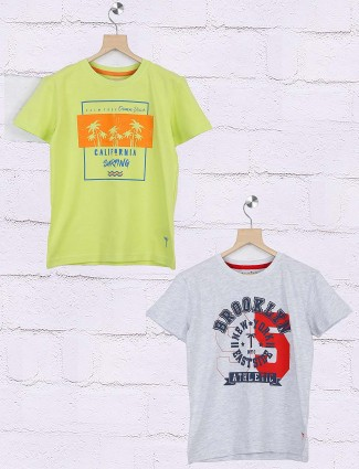 Gini and Jony light green and grey pack of 2 t-shirt
