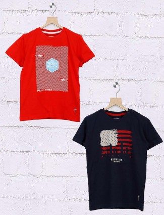 Gini and Jony navy and red printed pack of 2 t-shirt