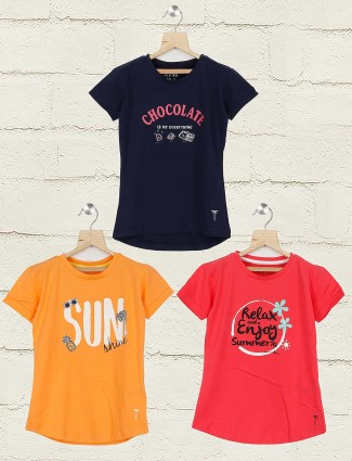 Gini and Jony navy orange and pink printed pack of 3 top