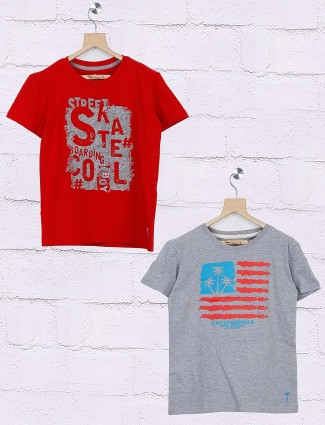 Gini and Jony red and grey hue printed pack of 2 t-shirt