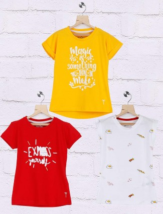 Gini and Jony white yellow and red hue pack of 3 top