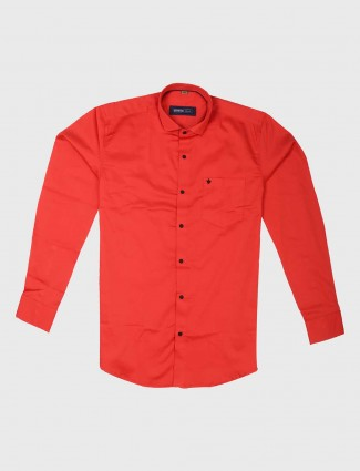 Ginneti bright slim fit red shirt