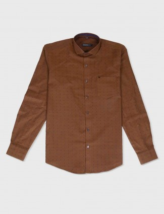 Ginneti brown solid shirt