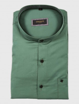 Ginneti green solid cotton shirt
