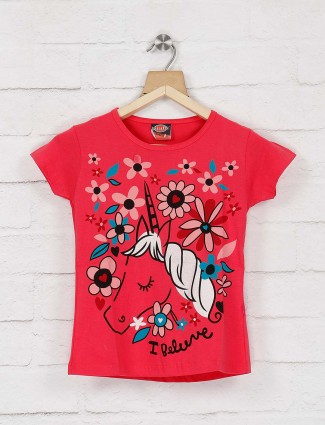 Giraffe lovely red color cotton round neck top