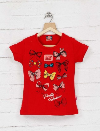 Giraffe lovely red color pretty cotton printed top