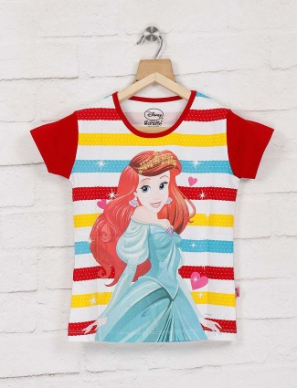 Giraffe red and yellow printed cotton top for girls