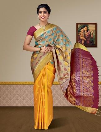 Gold and beige kanjivaram pure silk saree