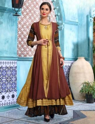 Gold and brown cotton silk round neck anarkali kurti