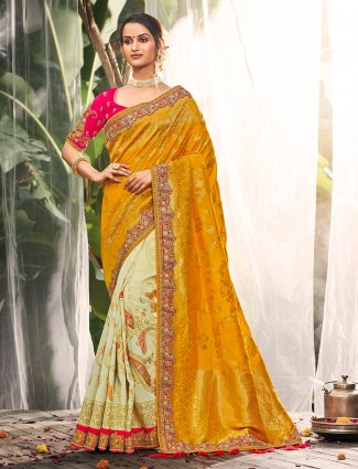 Gold and cream silk saree for wedding function