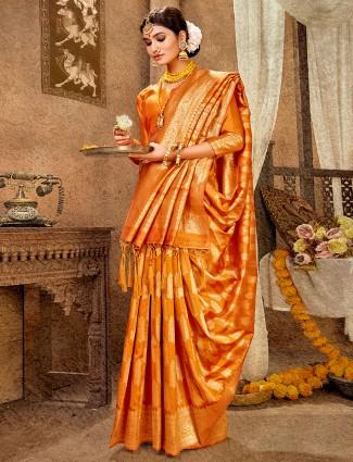 Gold banarasi silk wedding wear saree