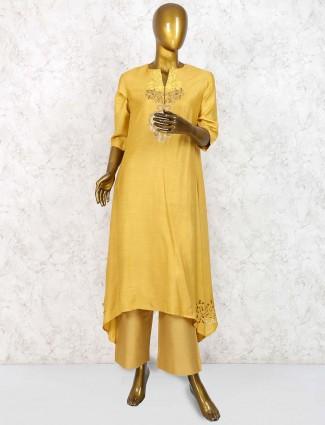 Gold color party wear punjabi palazzo suit